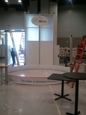 Aal Chem's booth being assembled.